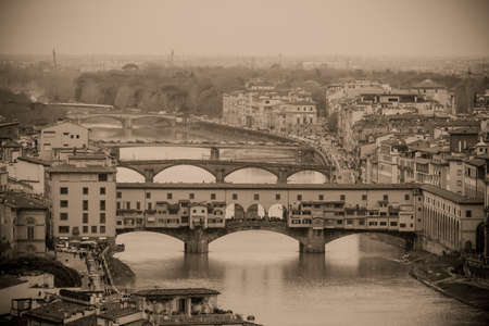 Vintage postcard with panoramic view of the Ponte Vecchio in Florence