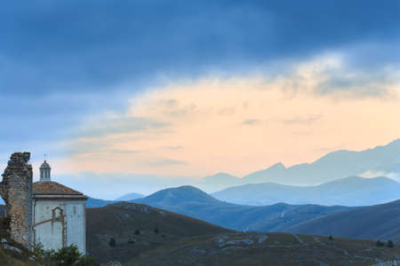 apennines: View of an historical church located at 1400 m on the Apennines mountain chain Stock Photo