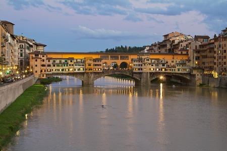 ponte: Florence Ponte Vecchio evening Stock Photo