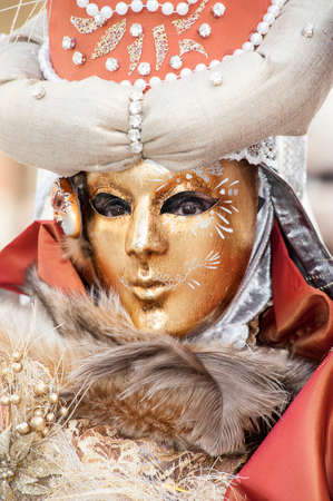 Venice, Italy - February 5 2018 - The Masks of carnival 2018. The Carnival of Venice is an annual festival held in Venice, Italy. The festival is world-famous for its elaborate masks.