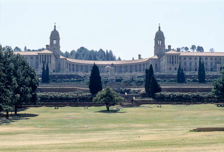 Front view or the main part of the Union Buildings, the official seat of the South African government. Pretoria, South Africa. Standard-Bild