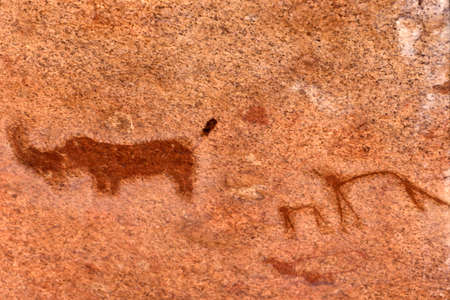 Rock Paintings Spitzkoppe Namibia africa Stock Photo