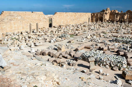Archaeological site of Leptis Magna, Libya - 10/30/2006:  The Forum of Severe in the ancient Roman city of  Leptis Magna.