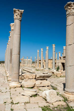 Archaeological site of Leptis Magna, Libya - 10/30/2006:  The Marketplace in the ancient Roman city of Leptis Magna. Archivio Fotografico - 116581928