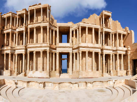 Archaeological Site of Sabratha, Libya - 10/31/2006: The Theatre of the ancient Phoenician city of Sabratha