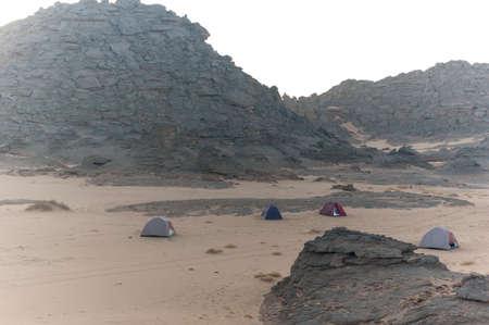 Camp tended in the Akakus, Sahara desert, Libya, Africa