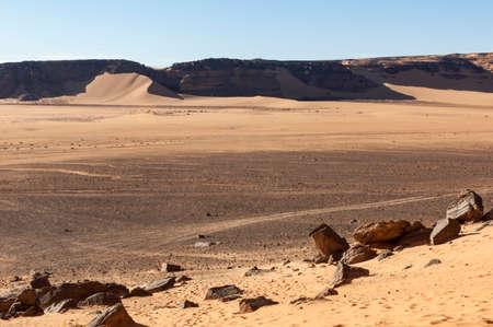 Sandstone rock formations in Akakus (Acacus), Sahara Desert, Libya.