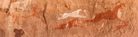 Prehistoric Petroglyphs - Rock Art - Akakus (Acacus) Mountains, Sahara, Libya Stock Photo