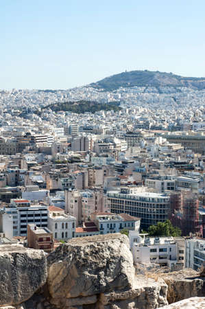 Athens aerial panoramic view from the Athenian Acropolis in Greece Stok Fotoğraf