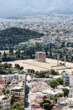 view of Athens with Temple of Zeus Olimpo and Panathenaic stadium