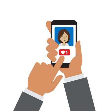 Hand holding mobile phone giving heart in social media app Çizim