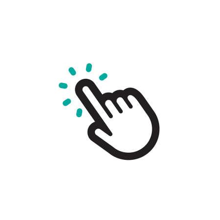 Kliknij ikonę dłoni, pogrubiona linia Ilustracje wektorowe