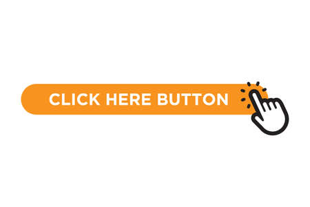 Click here orange button with hand icon isolated on white