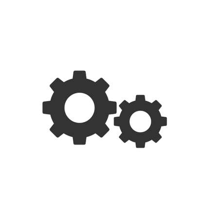 Gears icon, working symbol, flat design vector