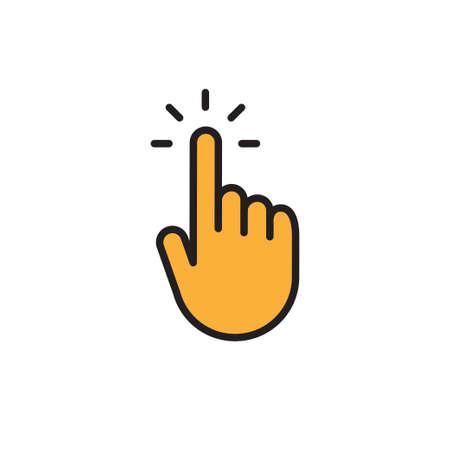 Clicking finger icon, hand pointer vector illustration Illustration