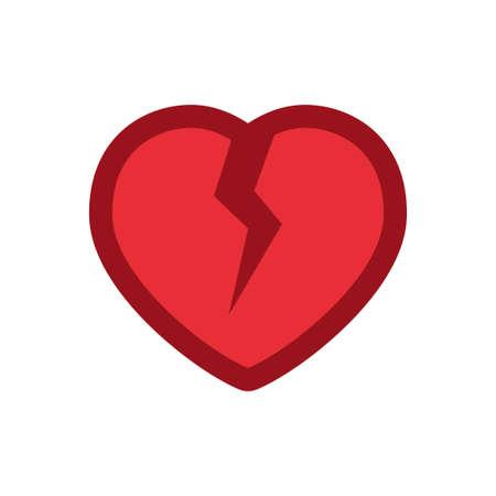 Heart with crack icon, broken love symbol