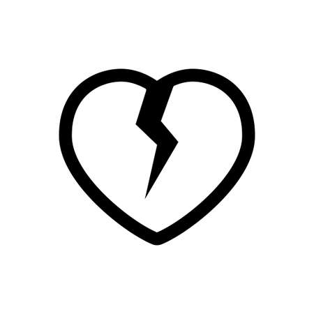 Broken heart, lost love symbol, linear vector