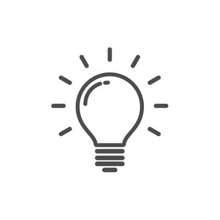 Light bulb with rays, idea concept icon illustration. Illustration