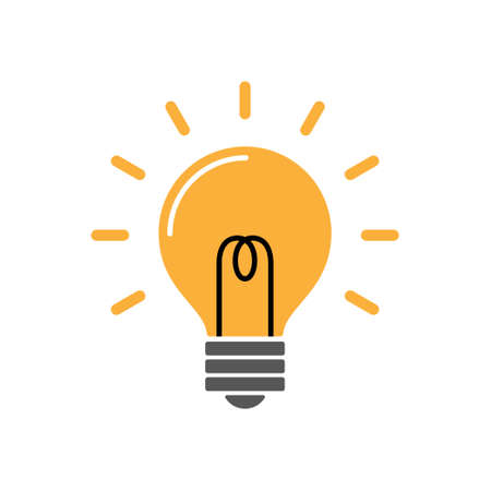 Energy and idea symbol, light bulb with rays, simple trendy icon illustration.  イラスト・ベクター素材