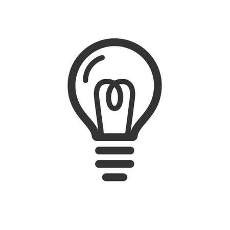 Light bulb bold linear icon, idea symbol illustration on plain background. Vectores