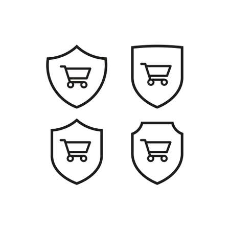 Set of shop cart icons on shield. Vettoriali