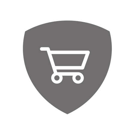 Shopping cart on shield icon, costumer defense symbol, safety online purchase.