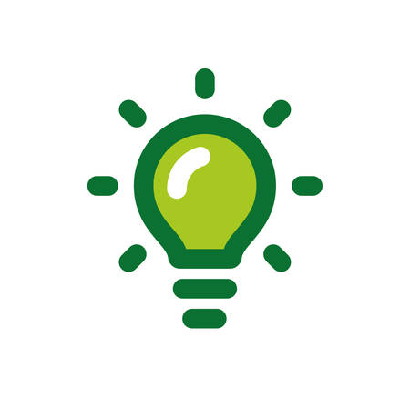 Green Light Bulb Icon Ecological Energy Bright Idea Stock Vector