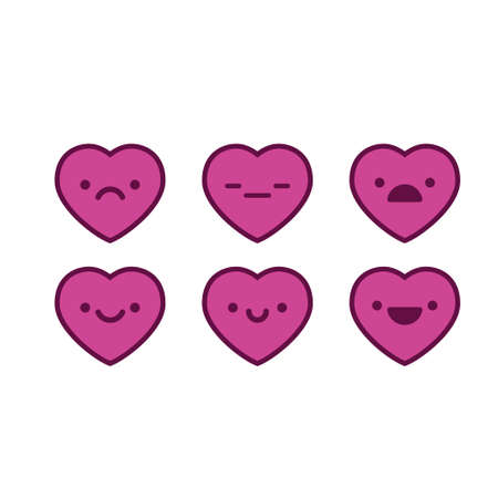 Heart emoticons collection, cute emojis