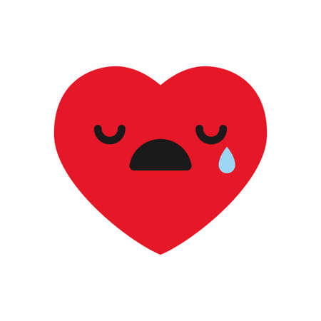 Crying emoji, heart emoticon. Illustration