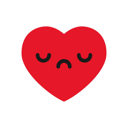 Sad heart emoticon, cute emoji