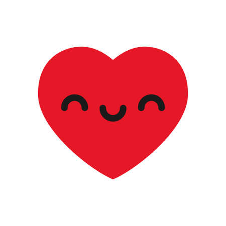 Happy heart emoticon illustration.