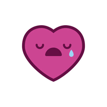 Sad heart emoticon with tear Vector illustration. Illustration