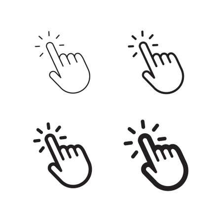 Hand clicking icon set isolated on plain background