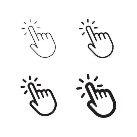 Hand clicking icon set isolated on plain background