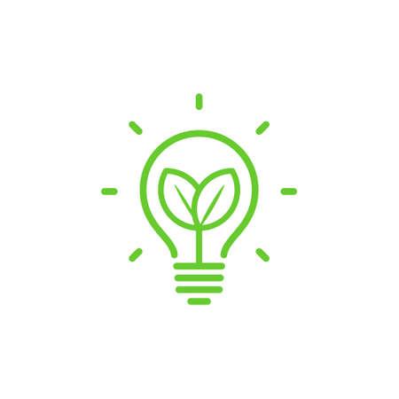 Lightbulb ecological leaf lamp Vector illustration.