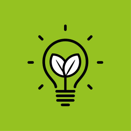 Lamp ecological leaf Vector illustration. Иллюстрация