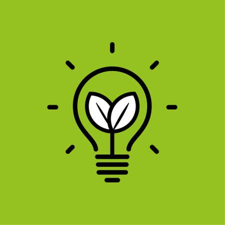 Lamp ecological leaf Vector illustration. Stock Illustratie