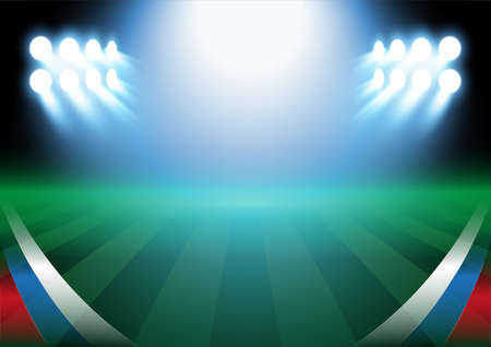 Football field background, vector illustration, with russian flag in the corner