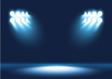 Vector stage with set of blue spotlights. Blue stage lights. Ilustração