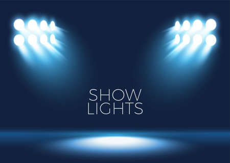 Vector stage with set of blue spotlights. Blue stage lights. Illustration