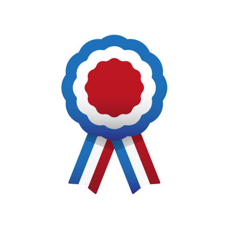 Cockade, rosette with ribbon, vector illustration.