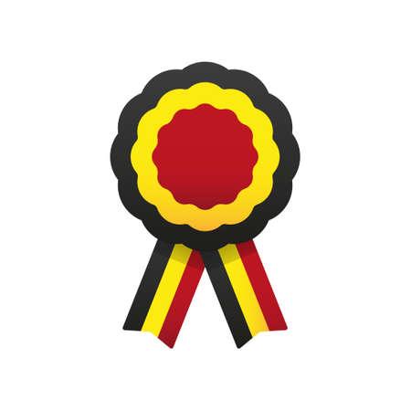 Cockade, rosette with ribbon, vector illustration. Belgium flag colors symbol
