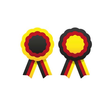 Rosette with ribbon, vector illustration. Cockade.