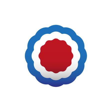Escarapela roja, blanca y azul, roseta, ilustración vectorial. Colores de Estados Unidos, símbolo francés