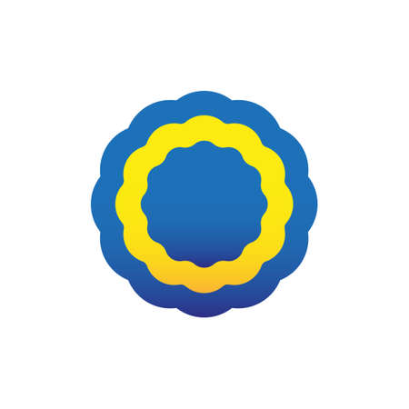 Cockade, rosette, vector illustration. Blue and yellow