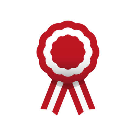 Cockade, rosette with ribbon, vector illustration. Red and white. Peruvian colors. Austria and Peru flag Vectores