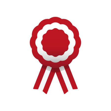 Escarapela, roseta con cinta, ilustración vectorial. Rojo y blanco. Colores peruanos. Bandera de Austria y Perú Ilustración de vector