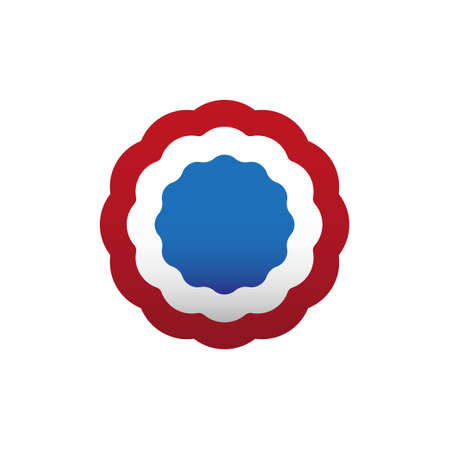 Red, white and blue cockade, rosette, vector illustration. Colors of France, french. Ilustração