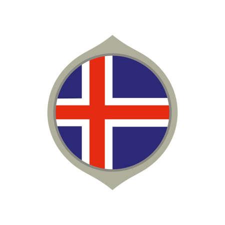 Circle flag of Iceland Stock Illustratie