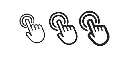 Click hand icon, linear vector